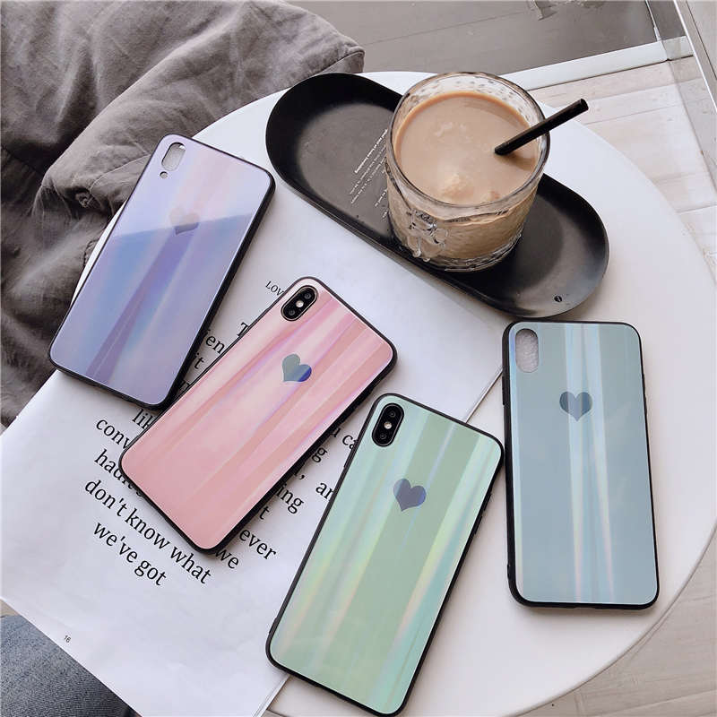 Funda con gradiente de brillo láser para Huawei P20 P30 Lite, funda protectora trasera de cristal templado duro para huawei Nova 3 3i Y9 2019