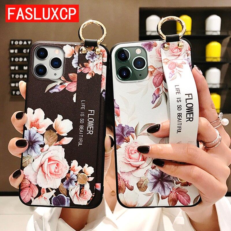 Чехол для iPhone 11, Модный цветочный Чехол-держатель для телефона iPhone 8 Plus 6 6s 7 X XR XS 11 pro max, мягкий чехол из ТПУ с ремешком на запястье Etui