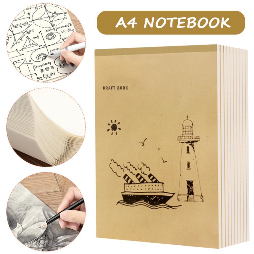 Nuevo cuaderno A4 en blanco página interior Graffiti borrador Sketchbook grueso Beige grueso papel para dibujar nota pintura 40 páginas