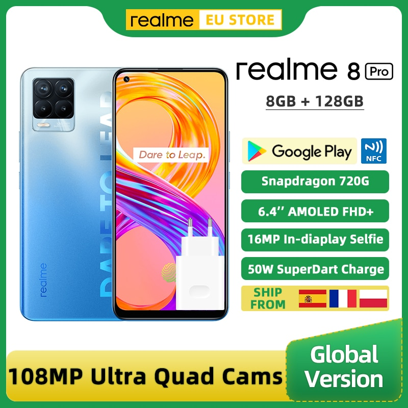 Realme 8 برو النسخة العالمية الهاتف الذكي 8GB 128GB 6.4 ''عرض 108MP جدا رباعية كاميرا أنف العجل 720G 4500mAh 50W NFC