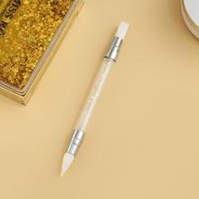 1 PC New Double Way Rhinestone Nail Art Brush Pen Silicone Head Carving Dotting Tool for Women DIY B