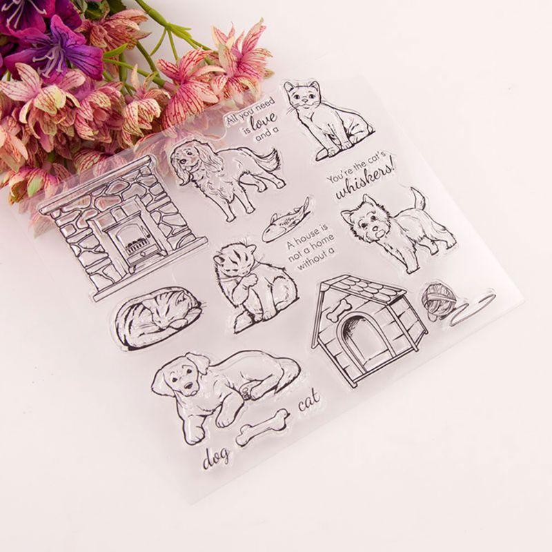 Sello de silicona transparente de perro gato sello DIY álbum de recortes grabado en relieve para fotos álbum de decoración R7RC