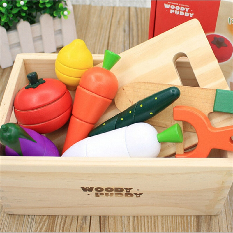 Simulation Kitchen Series Montessori Cut Fruits and Vegetables Wooden Toys Classic Pretend Play Cooking Interest Cultivation