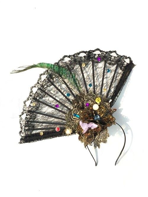 هالوين تأثيري عرض أزياء مخصص اليدوية مروحة عقال بوم بوم أغطية الرأس القوطي فريد إكسسوارات الشعر