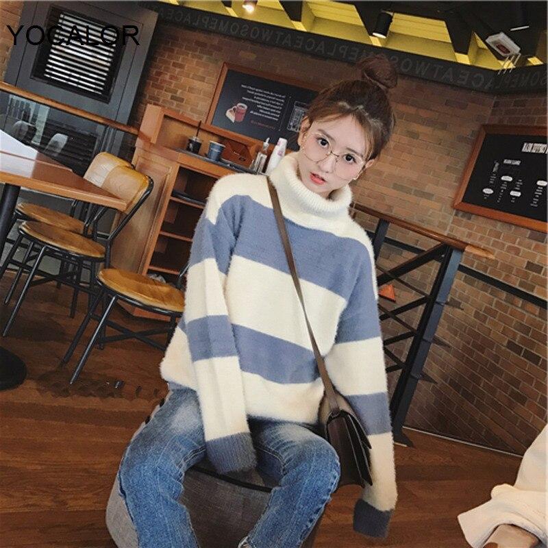 2020 moda Otoño Invierno cuello de tortuga Mohair mujeres suéter de moda de manga larga a rayas sueltos Pulovers de punto Mujer Jumers