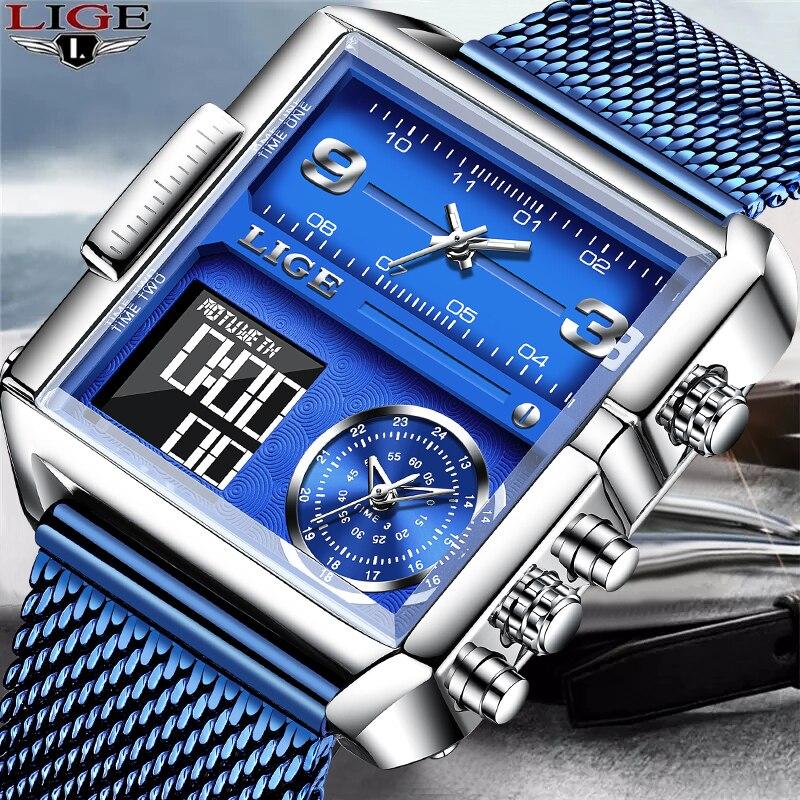 LIGE العلامة التجارية ساعة رجالية فاخرة موضة رقيقة جدا شبكة الساعات للرجال مقاوم للماء الرياضة ساحة ساعة رقمية Relojes الفقرة Hombre