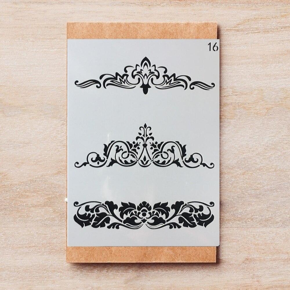 Plantillas decorativas para hacerlo tú mismo con diseño de borde de flores A4 29*21cm, libro de recortes colorear en relieve, plantilla decorativa para álbum