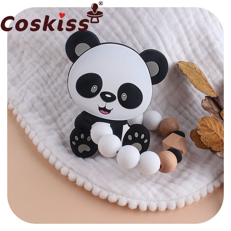 Coskiss 1pcs Panda BPA-free Food Grade Silicone Teether Beech Wooden Silicone Beads Bracelet Molar S