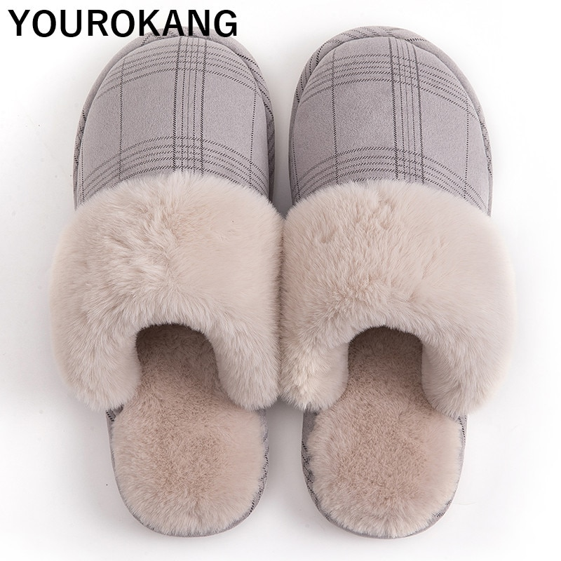 Warm Men Winter Shoes Home Slippers With Fur Indoor Bedroom Floor Cotton Plush Slipper Furry Soft Non-slip Couple Shoes Gingham
