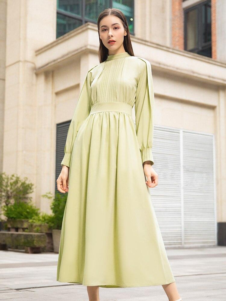 Primavera moda joven vestido largo de mujer alta calidad vestido de manga larga Oficina señora botón fiesta vestido de noche