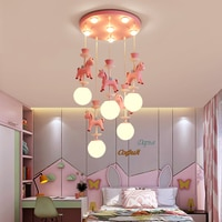 Children's room chandelier carousel modern minimalist living room lamp boy girl princess bedroom lamp baby room lighting