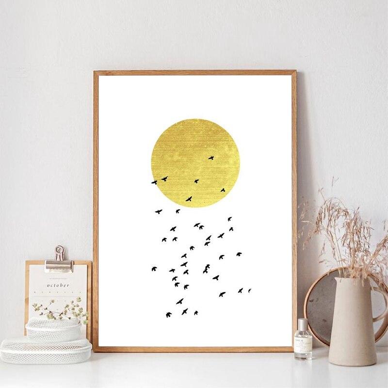Blanco y Oro aves voladoras arte impresión oro sol arte minimalista decoración póster dormitorio Boho pared arte lienzo pintura decoración del hogar