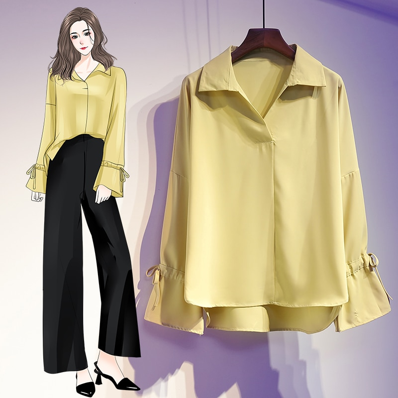 plus size V-Neck Shirt for Women 5XL solid Blouse Elegant Tops Female Long Sleeve Office Lady Work Wear Summer blouse
