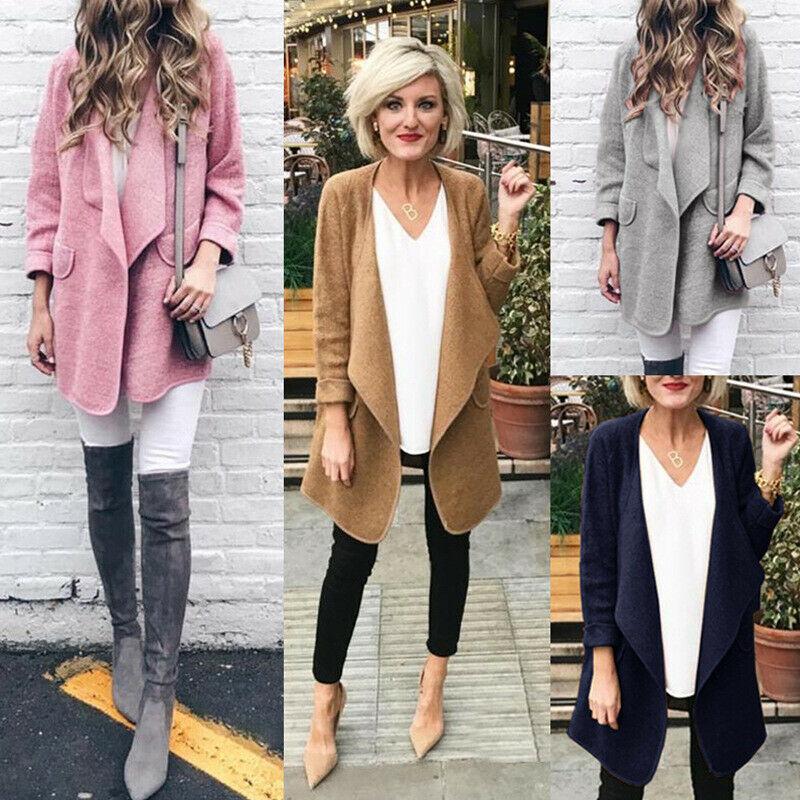Womens Big Lapel Cardigan Woolen Coat Loose Fit Outdoor Jacket Fall Winter