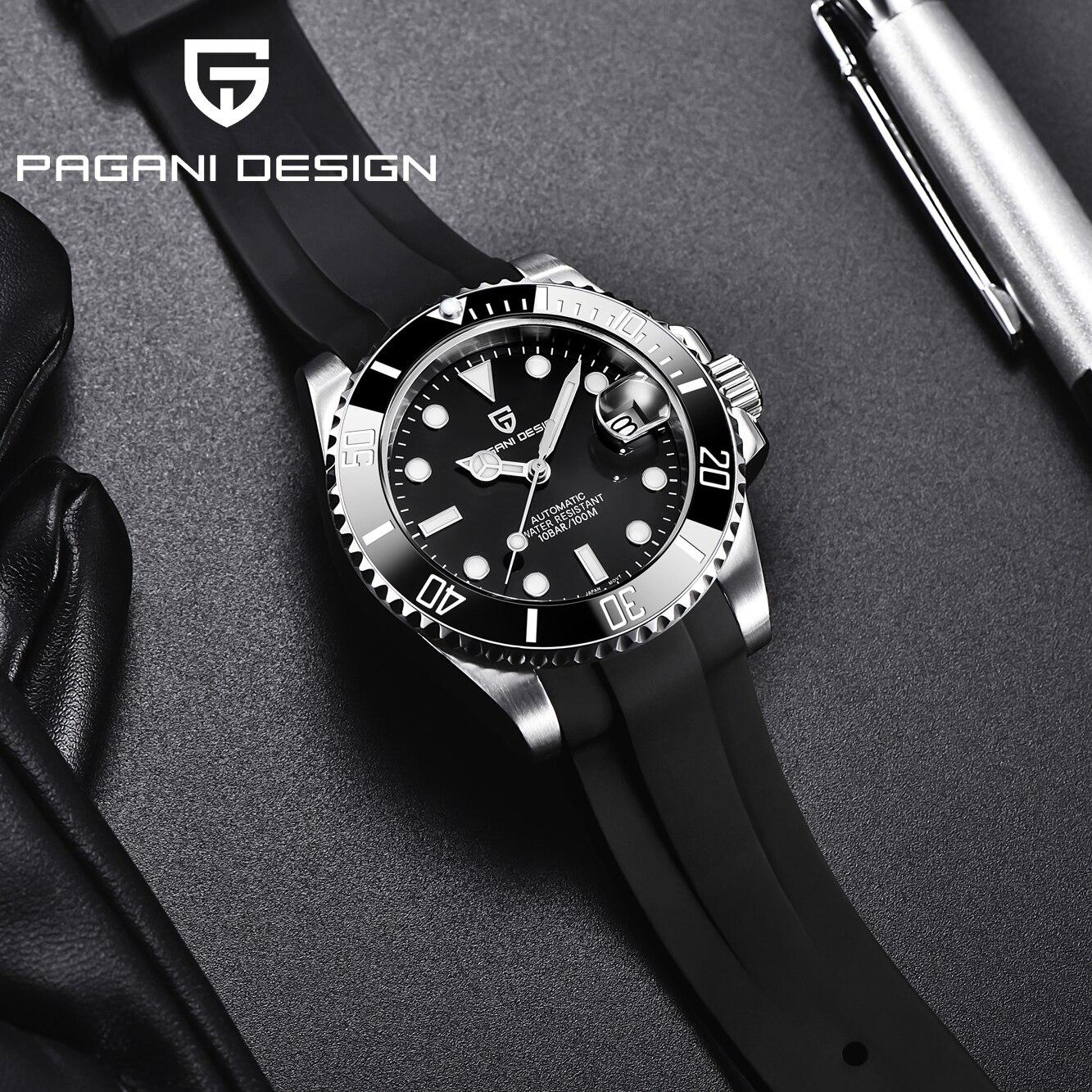 Safira à Prova Pagani Design Novo Relógio Masculino Japão Nh35 Automático Mecânico Dwaterproof Água Explorador Data Relógios