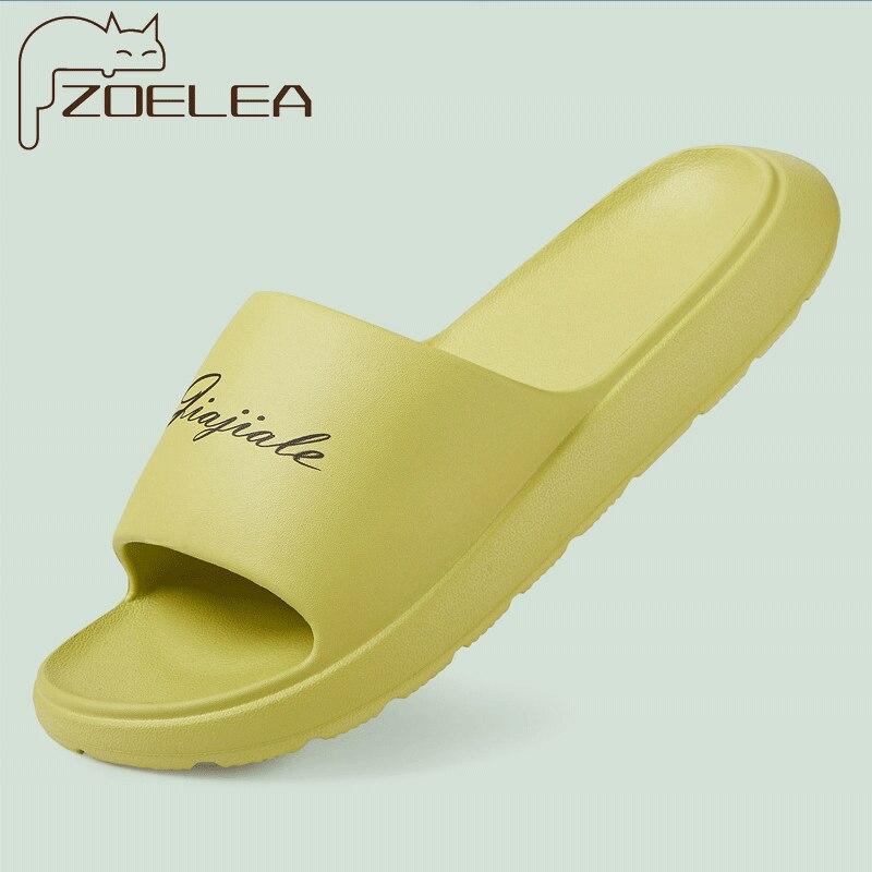 Women Thick Platform Slippers Summer Fashion EVA Soft Sole Beach Slide Sandals Men Couple's Indoor Bathroom Anti-Slip Shoes Home
