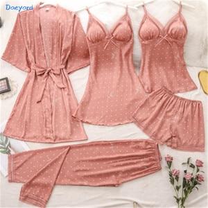 Daeyard 5 Pieces Ice Silk Robe Sleepwear Women Sexy Lace Satin Pajamas Gown Set Fashion Polka Dot Pijama Nightwear Homewear