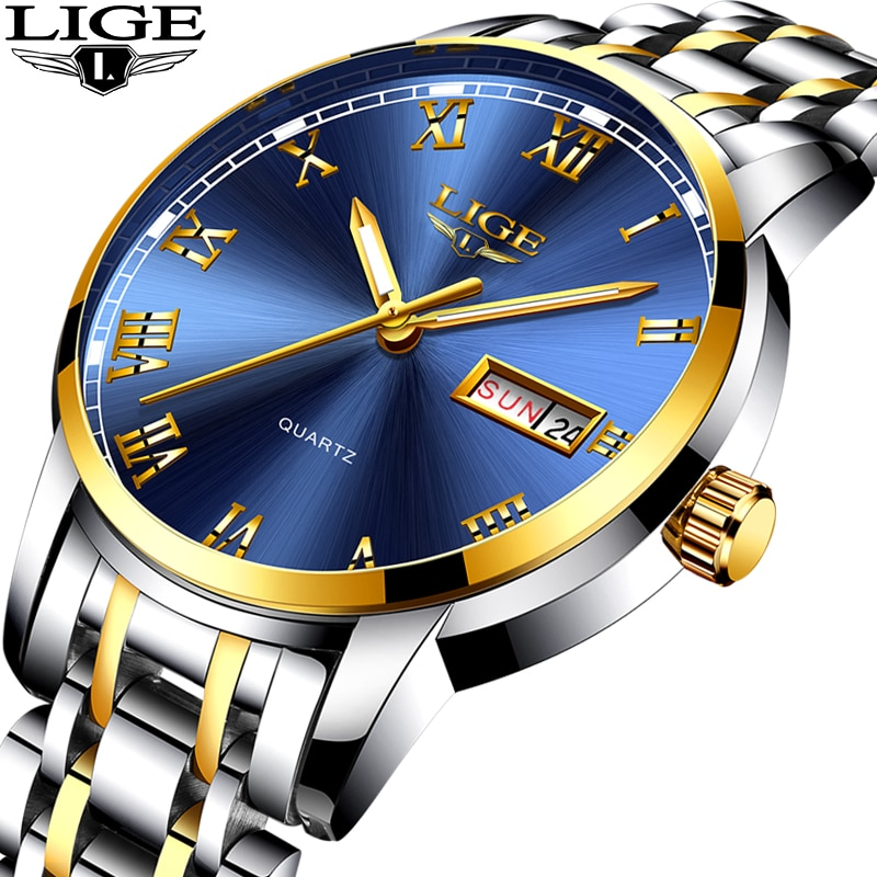 LIGE Couple Watch Gold Blue Watch Women Quartz Watches Ladies Top Brand Luxury Female WristWatch Girl Clock Relogio Feminino+Box enlarge
