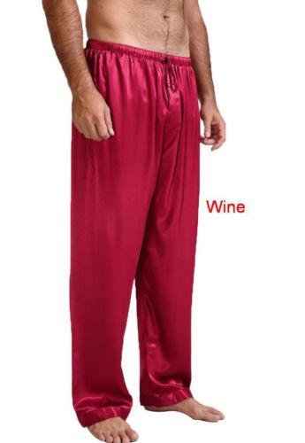 Mens Satin Silk Nightwear Pajamas Long Lounge Pants Pyjamas Men's Loose Casual Harem Pilates Lounge