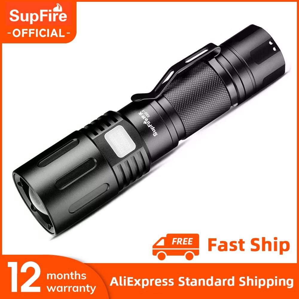 جديد SupFire X60-T كري 36 واط XHP90 مصباح يدوي قوي مع التكبير قوة البنك وظيفة التخييم الصيد فانوس الشعلة فائقة مشرق