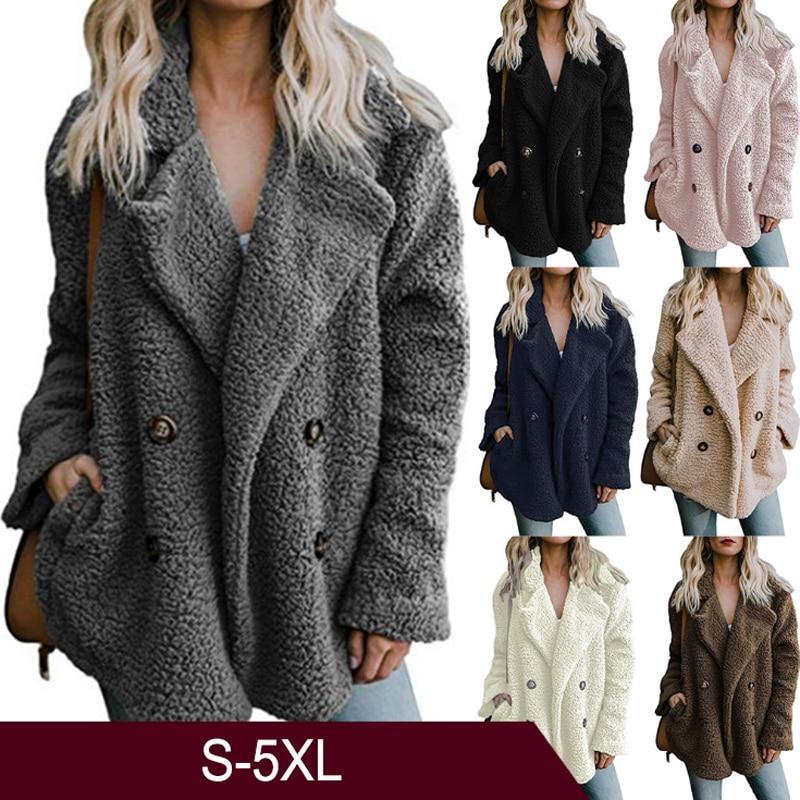 Coat Women Fluffy Jacket Fur Lamb Plush Thick Casual Solid Color Winter Faux Fur Coat Fleece Lapel Overcoat