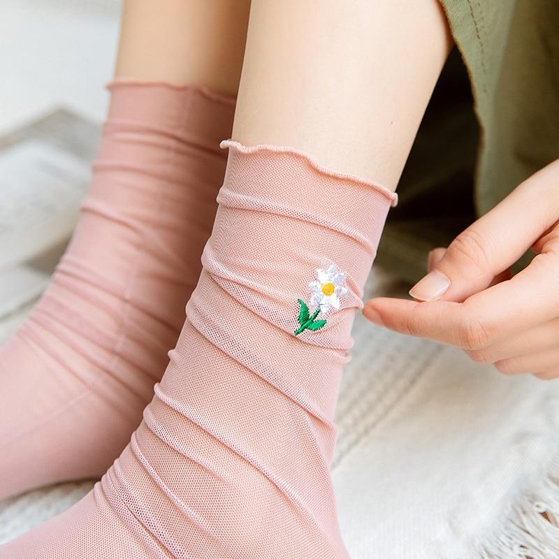 Mesh Socks for Women Bunching Socks Ins Trendy Tube Socks Korean Online Red Spring and Summer Thin S