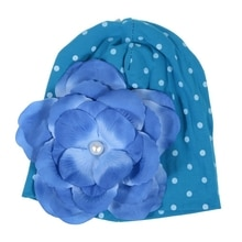 1pcs Baby Newborn Boy Girl White Dot Blue Hat Cap with Blue Flower--Blue