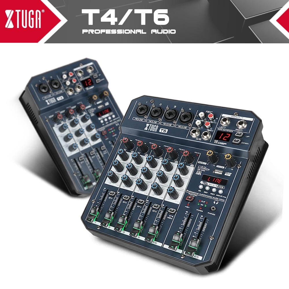 XTUGA 4/6 قنوات خلاط الصوت المدمج في كارت الصوت الرقمي آلة صوت دي جي مع 16 تأثير DSP ، بلوتوث ، USB ، لتسجيل DJ الكمبيوتر ، والغناء