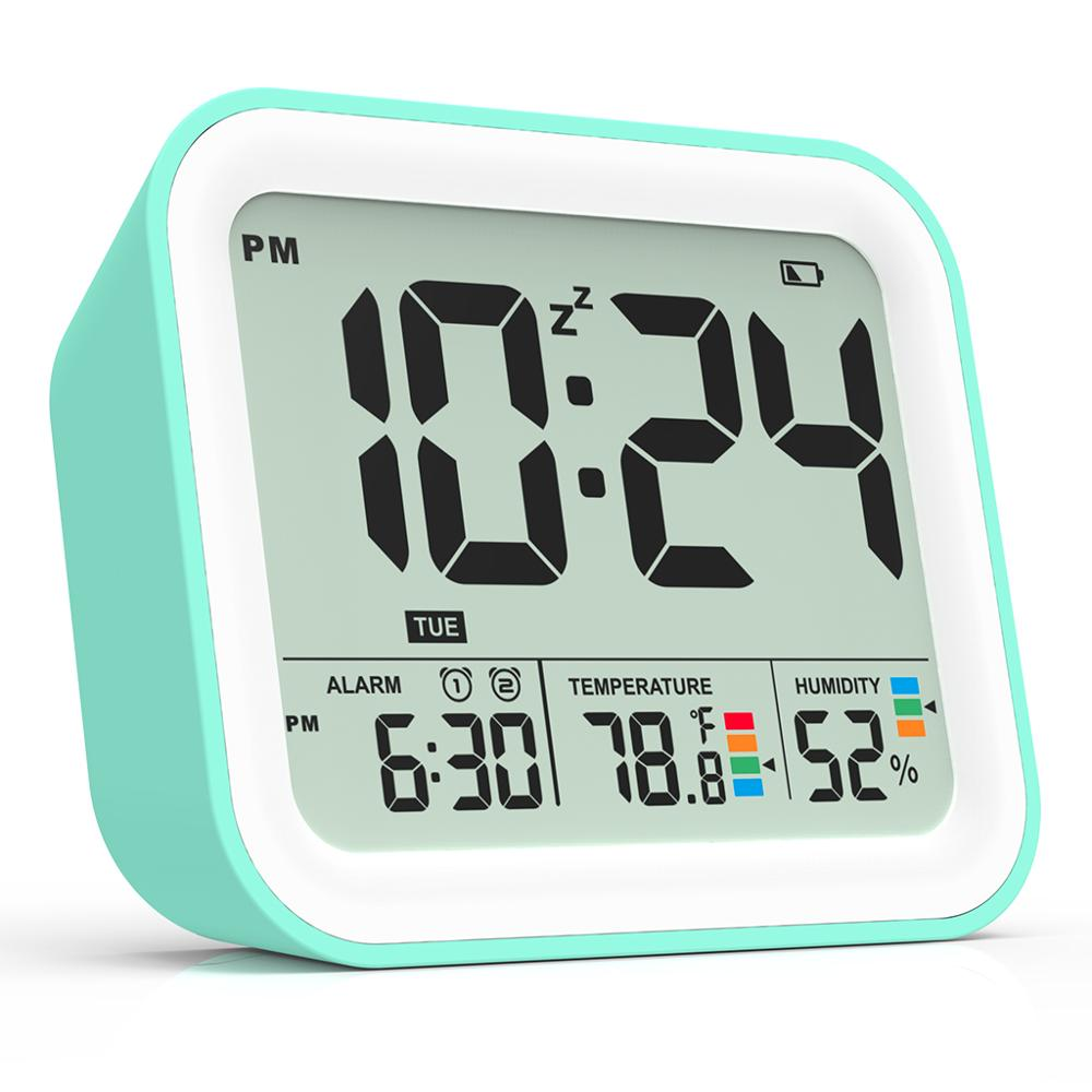 Battery Operated Digital Alarm Clock for bedroom, Dual Alarm with Workdays/Weekends Setting,Snooze, Travel Clock Thermometer