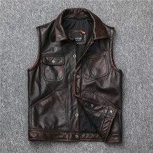 Livraison gratuite, veste en cuir véritable, gilet en peau de vache pour hommes. Gilet de motard à moteur vintage marron foncé, gilet mince en cuir de cire à lhuile, vente