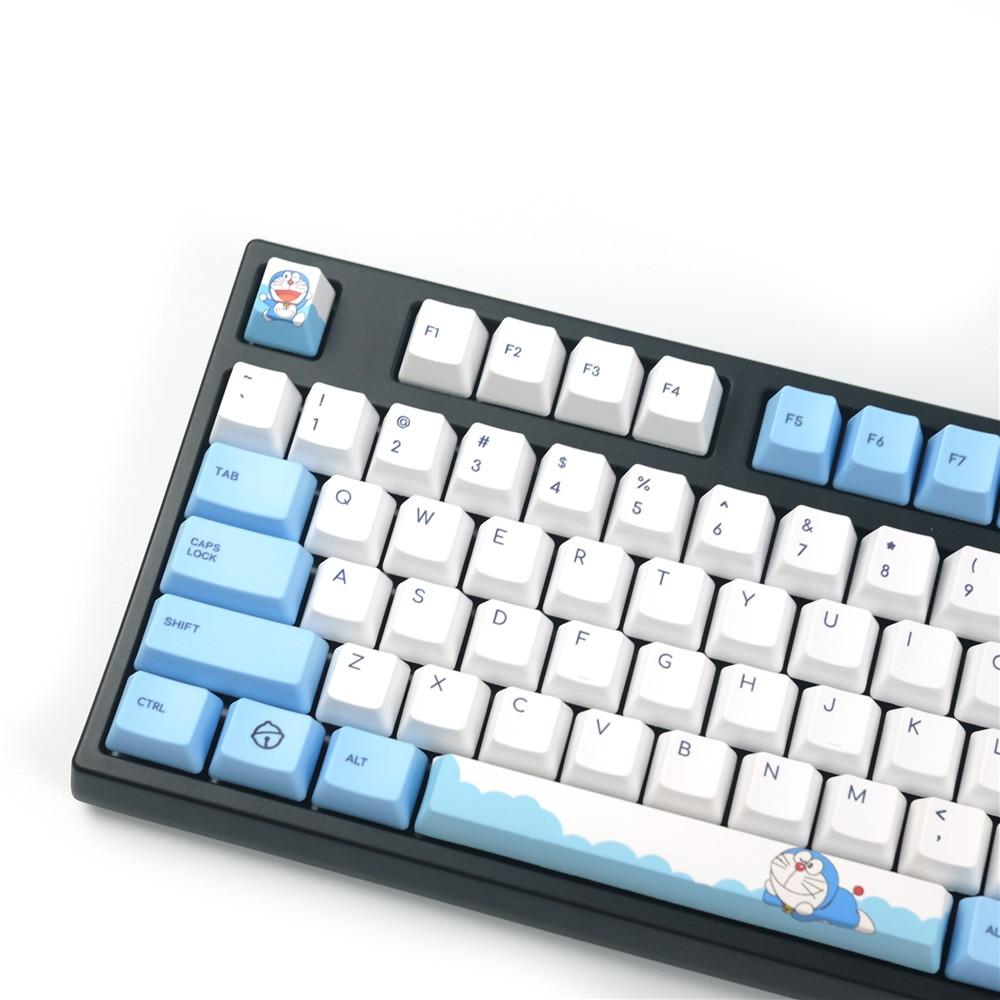 Doraemon-أغطية لوحة المفاتيح ، ملف تعريف OEM ، تسامي الصبغة ، متوافق مع مفاتيح Cherry MX Gateron للوحة المفاتيح الميكانيكية 104 180