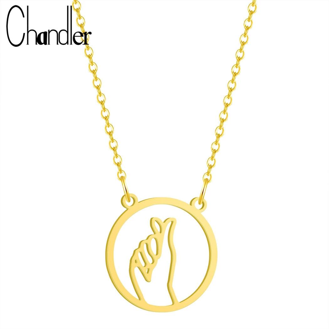 Collar de gesto de amor calado de acero inoxidable Popular de Chandler, declaración de amor de lenguaje de señal, cadena Simple creativa para mujer, regalo