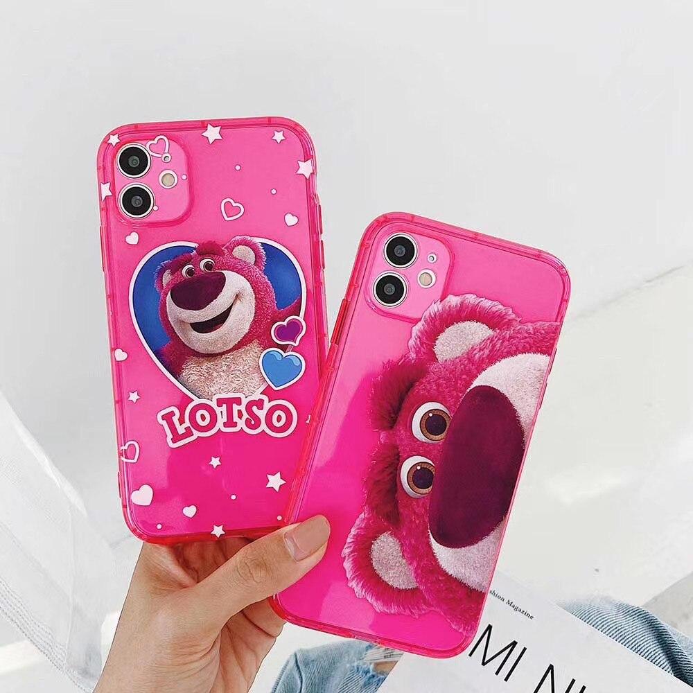 Funda de teléfono de caricatura linda de fluorescencia Toy Story 3 LOTSO para iPhone 11Pro Max X XS XR 6s 7 8 Plus, funda trasera suave de oso de fresa
