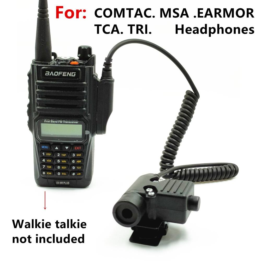 Tactical U94 PTT Headset Accessory PTT For COMTAC MSA EARMOR TCA TRI Headphones for BAOFENG  UV-XR A58 UV9R UV-9R Plus Radio 5 pcs u94 ptt replace cable diy replace k head cable for z tactical tca sky peltor comtac msa earmor tca tri u94 ptt st94