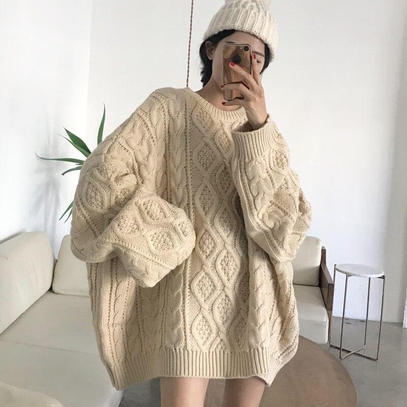 2019 suéter informal de gran tamaño de las señoras Jersey de punto sólido de las mujeres de punto de otoño invierno cuello redondo suéter femenino de punto
