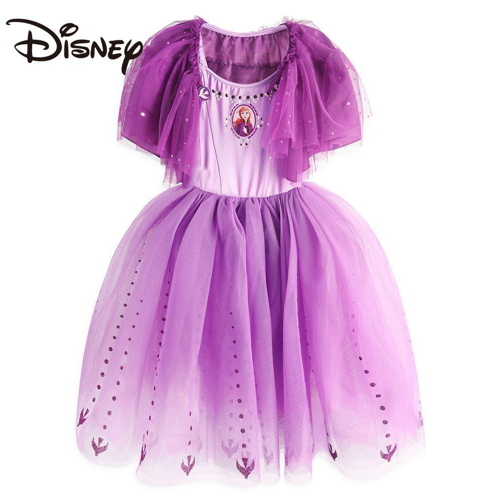 Disney Frozen Anna Princess Dress Girl Autumn and Winter Dress Rabbit skirts womens Knee-Length Ball Gown long skirt