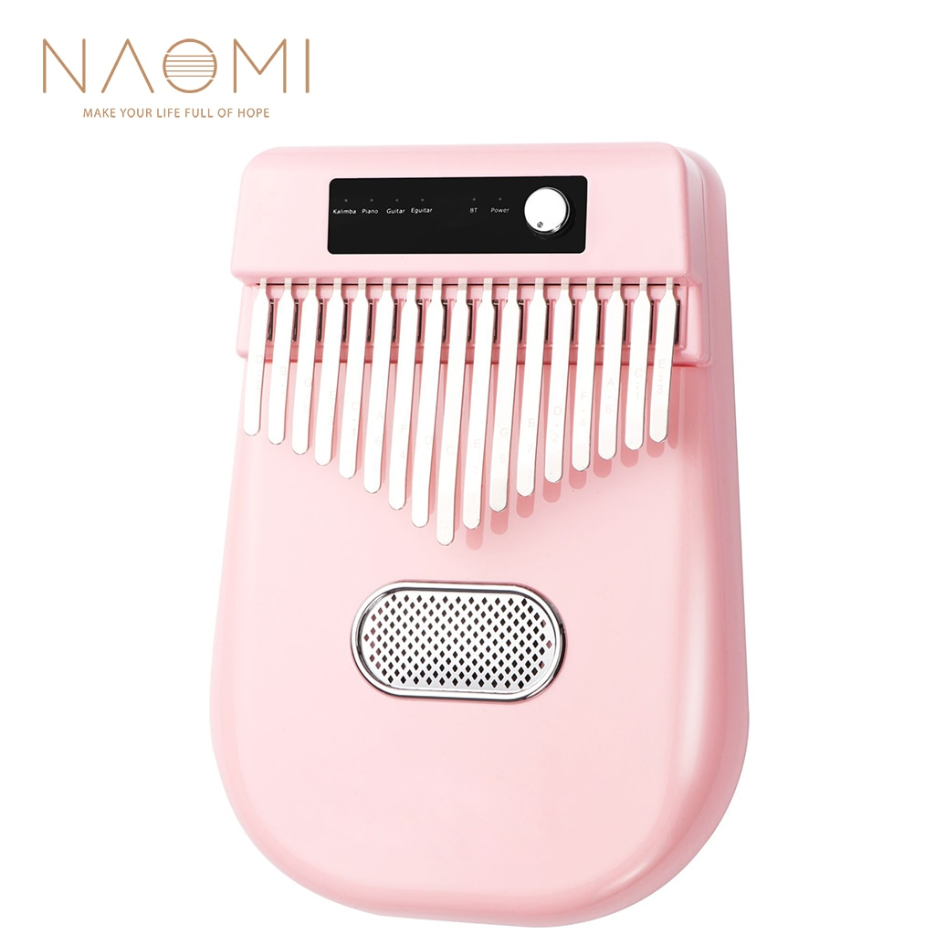 NAOMI Pink Color Smart Electric Kalimba 17 Keys Thumb Piano 4 Kinds Of Timbre W/ Bluetooth Connetion Really Full Bright Sound