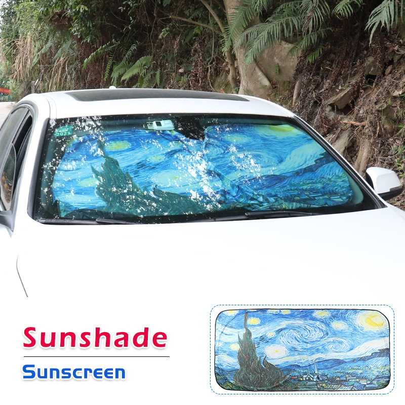 10PCS Wholesale Car Front Shades Windshield Sunshades Van Gogh Pattern Two Sides Auto Accessories Folding Easy Storage