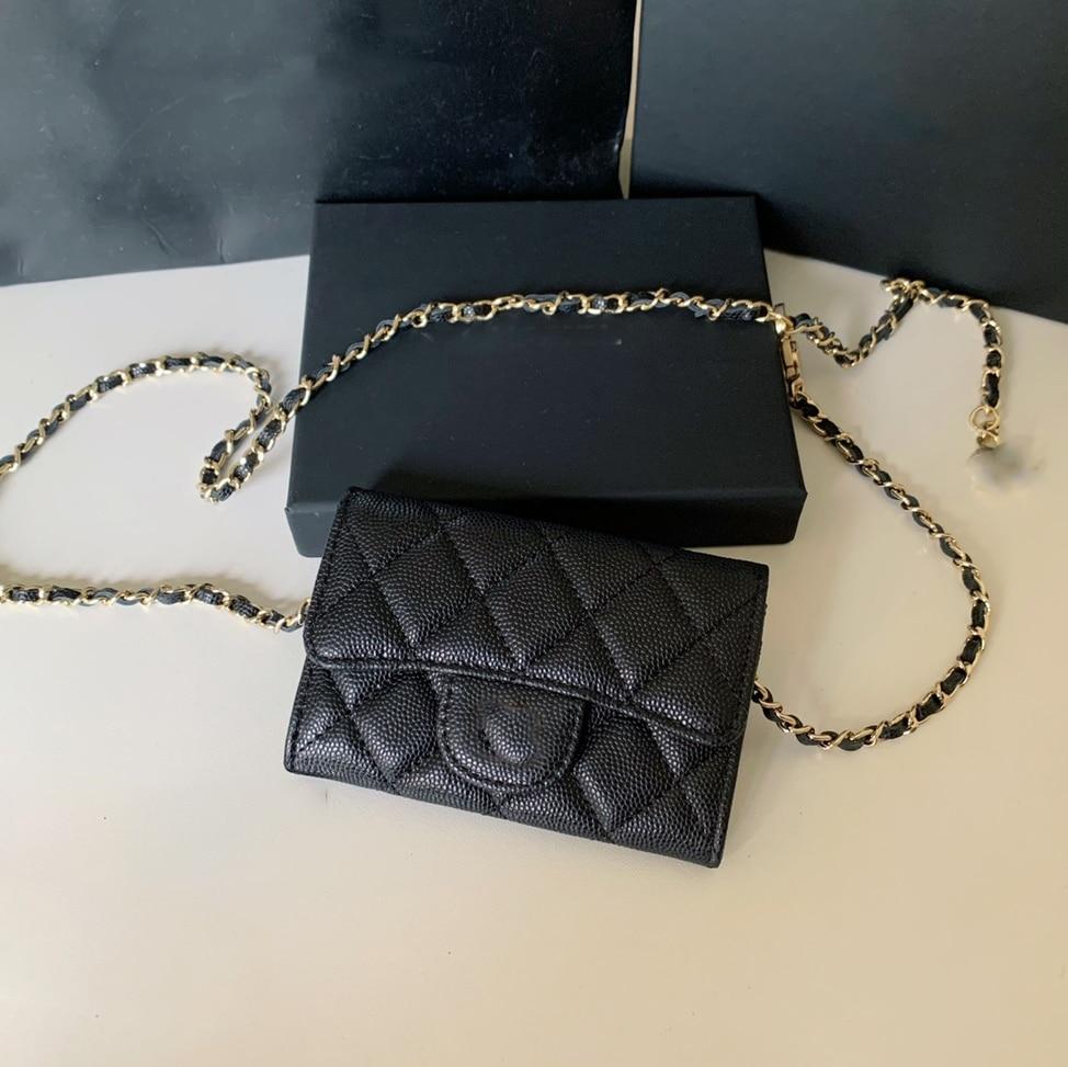 2021 أحدث السيدات حقيبة بحزام سلسلة صغيرة حقيبة متعدد الألوان الفاخرة العلامة التجارية 100% جلد طبيعي لطيف محفظة المحافظ الكافيار الخصر حقيبة