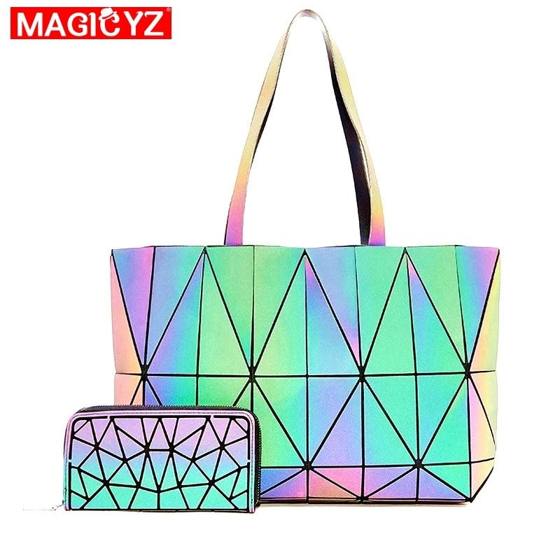 Fashion Luminous Handbags Big Women Bag High Quality set Messenger Bag Geometric lattice Tote Ladies Large Bolsos Crossbody Bags
