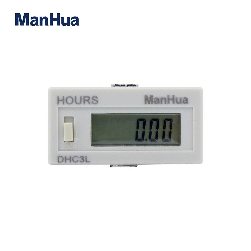 Contador horario Digital con pantalla LCD Manhua 6 con acumulador de fuente de alimentación DHC3L