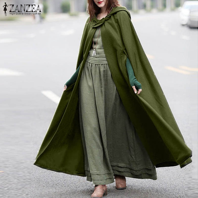 ZANZEA Women Stylish Long Cape Cloak Hooded Wool Blend Cloak Coat Autumn Hoodies Poncho Warm Cosplay Jackets Outwear Windbreaker snap button hooded drop shoulder wool blend coat