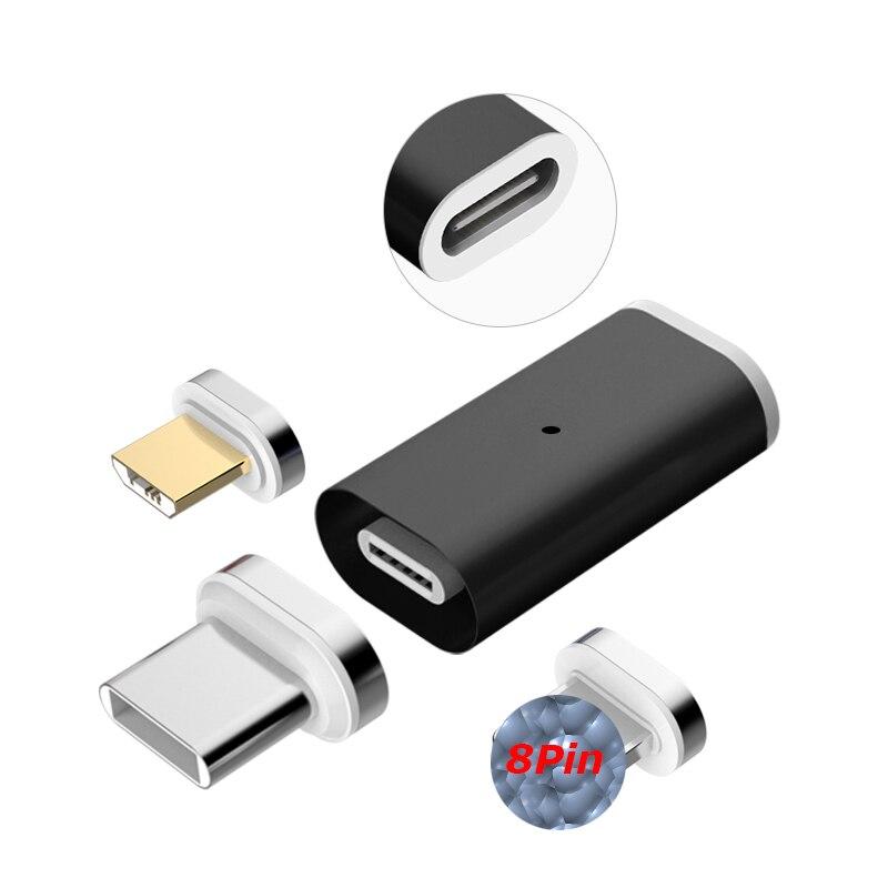 Adaptador magnético QC3.0 3A tipo C dispositivo de transmisión de datos compatible con Micro USB tipo C carga magnética para