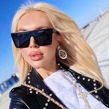 2021 Super Cool Fashion Men Women Conjoined Big Frame Square Sunglasses Driver Slim Glasses Personal