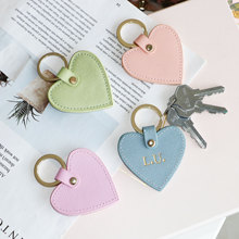 New fashion free custom initial letters genuine saffiano leather heart shape keychain women key hold