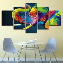 Quadros em tela decoração da casa hd impressões poster quadro 5 peças animais coloridos elefante abstracto pinturas sala de estar arte da parede