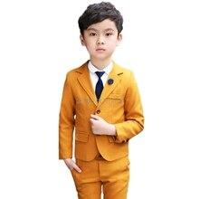 Свадебный костюм для детей, блейзер + штаны + галстук, комплект одежды, торжественный смокинг с цветами для мальчиков, Школьный костюм детска...