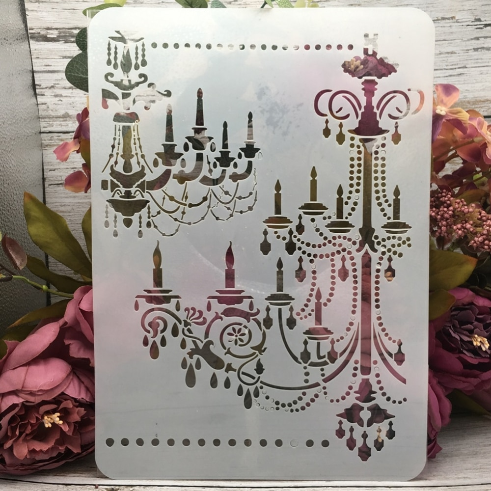 29*21cm A4 Vintage Palace Chandelier Light DIY Layering Stencils Painting Scrapbook Coloring Embossing Album Decorative Template