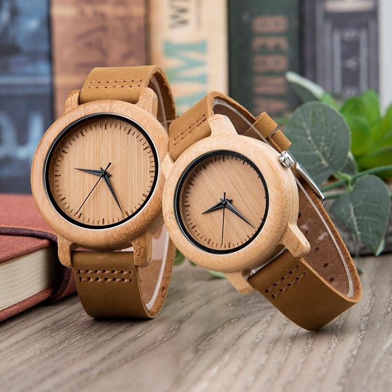 DODO DEER, conjunto de pareja de bambú, relojes de madera de cuarzo, banda de cuero negra, relojes de madera para amantes, relojes para hombres y mujeres, regalos personalizados A21