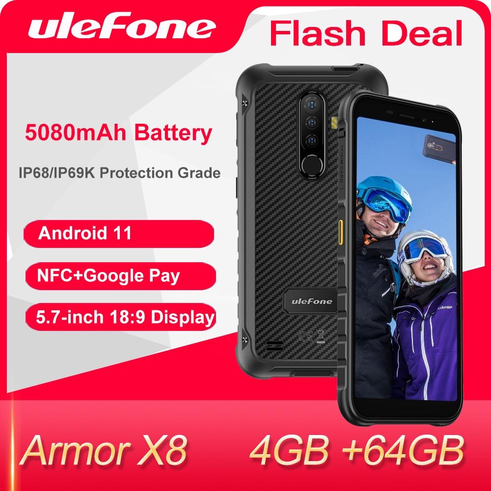Ulefone Armor X8 هاتف ذكي متين أندرويد 11 4GB + 64GB هاتف محمول عالمي 4G LTE هاتف محمول/NFC/مقاوم للماء IP68/ثماني النواة